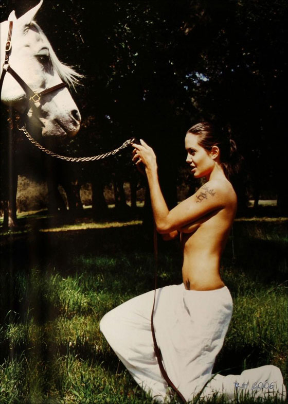 Angelina Jolie does a horse