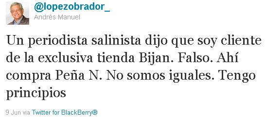 Lopez Obrador niega en twitter