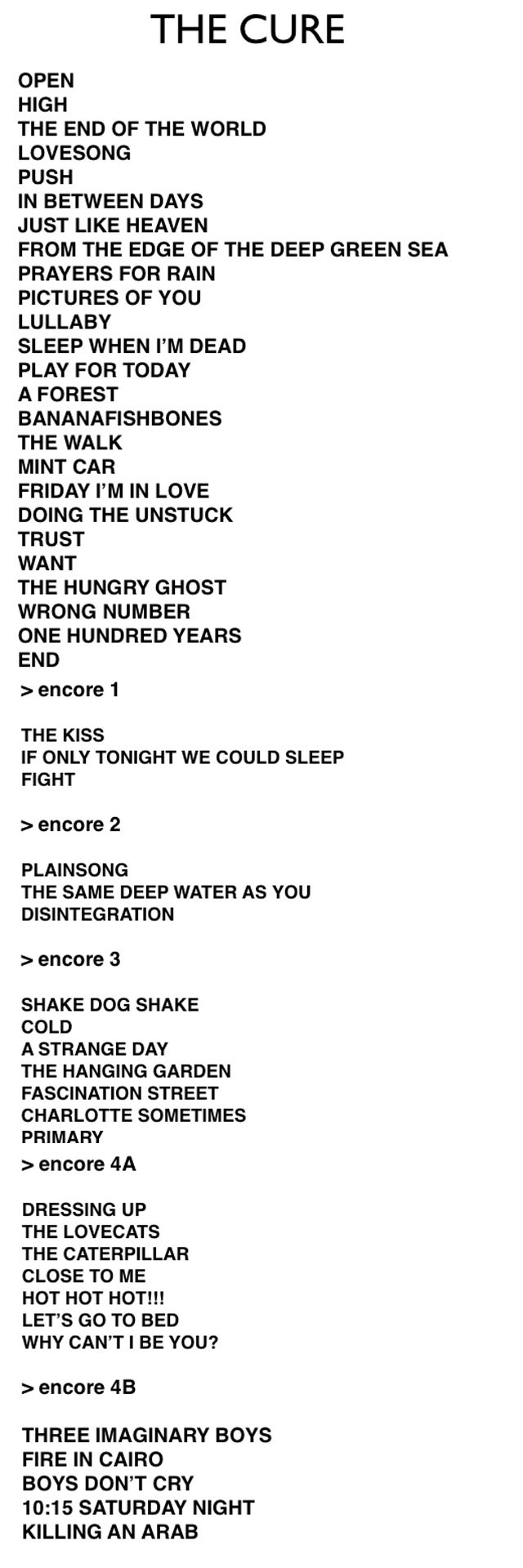 The Cure Mexico Setlist