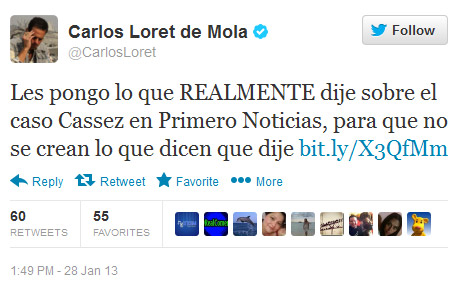 Carlos Loret miente en twitter