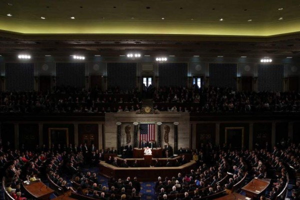 WASHINGTON, DC - SEPTEMBER 24:  Pope Francis addresses a joint meeting of the U.S. Congress in the House Chamber of the U.S. Capitol on September 24, 2015 in Washington, DC.  Pope Francis is the first pope to address a joint meeting of Congress and will finish his tour of Washington later today before traveling to New York City.  (Photo by Mark Wilson/Getty Images)