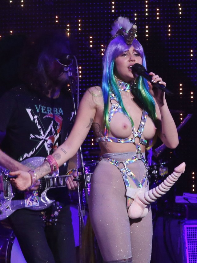 51930966 Singer Miley Cyrus performing live during the 'Miley Cyrus and Her Dead Petz' tour in Vancouver, Canada on December 14, 2015.
