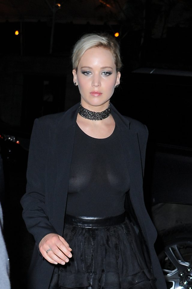 Jennifer Lawrence seen out in Manhattan in a see through top and blazer on MAY 14, 2016 in New York City, New York