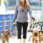 Jessica Biel salio a pasear a sus perros